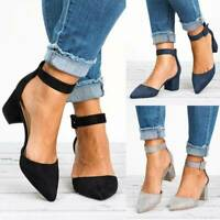 Womens Block Heels Ankle Strap Sandals Ladies Point Toe Work Office Casual Shoes