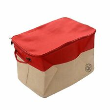 Large Size Home Organizing Basket Canvas Foldable Storage Tote Basket Bin, Red