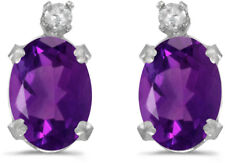 14k White Gold Oval Amethyst And Diamond Earrings (CM-E6411XW-02)