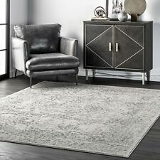 nuLoom Distressed Floral Oriental Vintage Odell Area Rug in Gray and Ivory