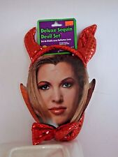 Red Devil Horns Headband & Tail Costume Halloween Party Accessory Theater Stage