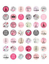 Paris/ French Themed PRINTABLE Bottle Cap Images ~ 42 Different Designs
