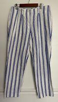 Boden Womens Pants Linen Cotton Blend Blue White Stripe Pockets Summer Size 6