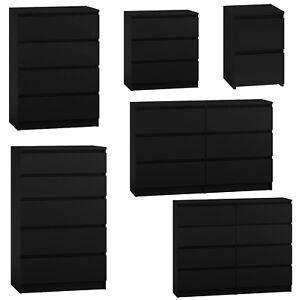 MODERN - Black Chest Of Drawers Bedroom Furniture Storage Bedside 2 to 8 Draws