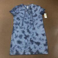 Ideology Women's Size Medium Indigo Sea Blue Short Sleeve Lace Up Tunic NWT