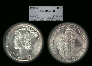1936-D Mercury Dime graded MS64FB by PCGS!  Nice for grade!!!
