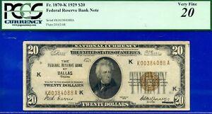 FR-1870-K - 1929 $20 FRBN (( Crazy Rare - Dallas )) PCGS VF 20 # K384088A-