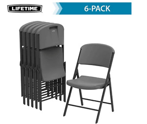 LIFETIME Commercial Grade Folding Chairs, 6 Pack, Gray 80900