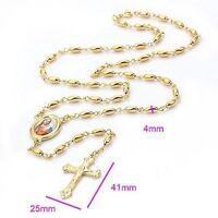 Gold Filled Huge Beads Jesus Crucifix Cross Pendant Necklace For Women Men Gift