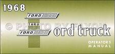 1968 Ford F100 F250 F350 Truck Owners Manual Pickup Ranger Custom Explorer