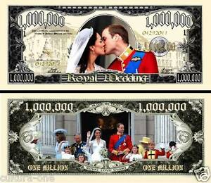 PRINCE WILLIAM KATE MIDDLETON BILLET MILLION DOLLAR US ! Princesse Mariage Royal