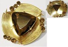 broche bijou vintage déco en relief cristaux citrine pierre taillé quartz * 5126