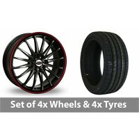 """4 x 17"""" Team Dynamics Jet RS Black Red Alloy Wheel Rims and Tyres -  205/45/17"""