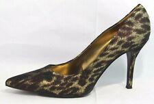 Nine West Flax women's stiletto heels shoes animal print gold slip on size 10