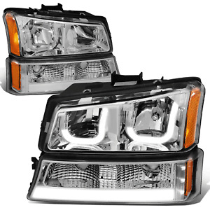 Fit 03-07 Chevy Silverado Pair J-Halo LED DRL Chrome/Amber Headlight Bumper Lamp