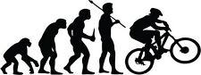 "MOUNTAIN BIKING EVOLUTION Vinyl Decal Sticker-6"" Wide White Color"