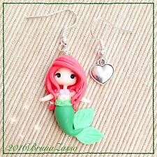 Orecchini Chibi Ariel ~ Cute Disney Earrings Fimo Polymer Clay Kawaii Mare Siren
