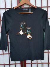 Robbie Bee Knitwear Black Shirt Beaded Cowboy Boots Design Size Medium