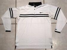 Vintage NIKE Dri-Fit Agassi WHITE  Warm Up Long Sleeve Tennis Shirt Men's Large