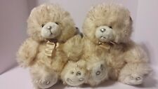 """NWT LOT 2 IVORY BEIGE GOLD PLUSH TEDDY BEARS 12"""" SEATED CHRISTMAS OR ALL YEAR"""