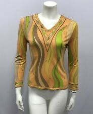 """VINTAGE EMILIO PUCCI SILK TOP SILK JERSEY SIGNED """"EMILIO"""" BROWN GREEN TAUPE XS/S"""