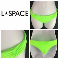 L Space Monique Side Back Ruched Bikini Bottoms Neon Green Hipster Womens L