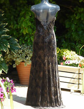 Monsoon Brown Sequin Beaded Low Back Dress Size 10 Wedding Cruise Ball PROM