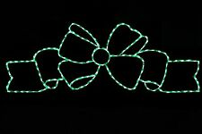 6 Foot Width Fancy Bow GREEN LED metal wire frame outdoor display decoration