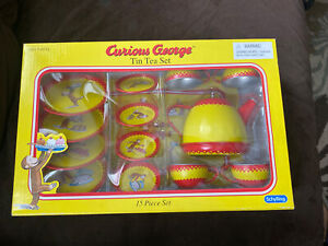 NEW! Curious George TIN TEA SET 15 Piece Schylling Child Monkey Play Set