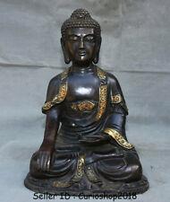 "16"" Old Tibet Temple Bronze Gilt Inlay Gem Sakyamuni Tathagata Buddha Sculpture"