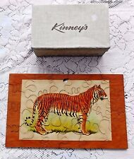 VINTAGE WOOD TIGER PUZZLE IN VTG KINNEY'S SHOE BOX 12.5 by 7.75