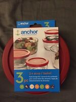 Anchor Hocking 3 x 4cup / 946ml Food Storage Lid 3 pc Red Replacement Cover