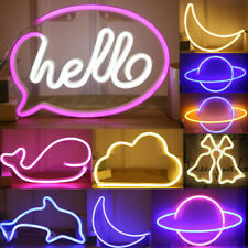 Battery Powered Usb Led Sign Neon Lights Home Shop Decoration Lamp Wall Light Us