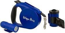 Unique Pet 3 in 1 Heavy Duty Retractable Dog Leash BLUE Lead Flashlight Poop Dis