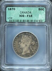 CANADA-BEAUTIFUL HISTORICAL QV SILVER 50 CENTS, 1870 LCW, KM# 6, ICG GRADED F 15