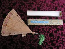 VINTAGE HAND CARVED & ETCHED BAMBOO CHINESE FOLDING HAND FAN W/ BOX