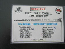 1976 SCANLENS  CHECKLIST (( CANTERBURY))