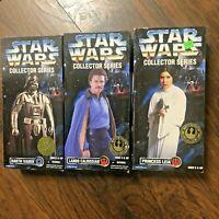 "Lot of 3 Kenner Star Wars Collector Series NIB 12"" - Lando Leia Darth Vader"