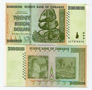 Genuine Zimbabwe 20 Billion Money Banknote 2008 UNC X 10 Note Lot P86 AA Prefix