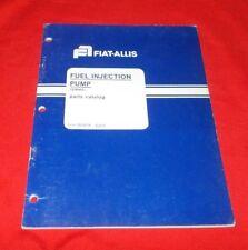Fiat Allis (SIMMS)  Fuel Injection Pump Parts Catalog  70698714