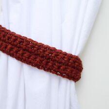 Pair of Burnt Orange Dark Rust Curtain Tiebacks, Drapes Tie Backs, Crochet Knit
