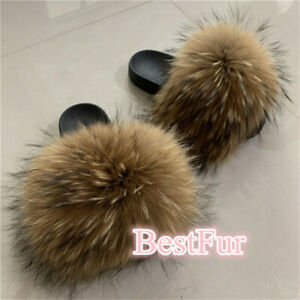 Max Large XXL Real Natural Brown Raccoon Fur Slides Sliders Slippers Flat Shoes