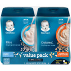 Gerber 2 Pack Rice and Oatmeal Single Grain Infant Baby Cereal Twin Pack 16 oz.