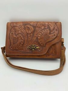 Genuine Leather Mexican Hand Tooled Style Mini Bag Messenger Cross Body Bag