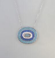 9907326 925er Silber Collier mit blauen Zirkonia L42cm