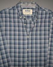 Men's Urban Pipeline LS Button Dress Shirt-Large/L-Blue Plaid-100% Cotton