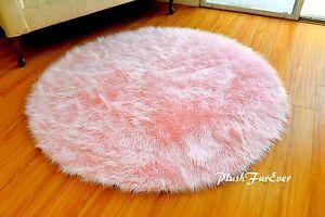 "5' or 60"" Round Area Rug Baby Pink Sheepskin Shaggy Faux Fur Rugs Nursery Decor"