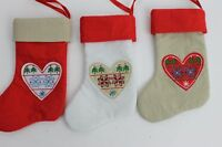 GISELA GRAHAM CHRISTMAS FABRIC SCANDINAVIAN MINI STOCKING DECORATION