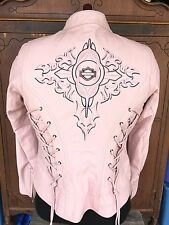 Harley Davidson Pink Leather Biker Motor Charisma Jacket Women Small #97042-08VW