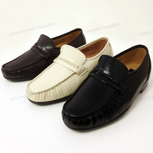 New Men's Dress Loafers Leather Wide Width (EEE) Moc Toe Slip On Comfort Shoes
